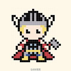 Thor Perler Bead Pattern - could be used for cross-stitch too.