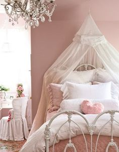 pink, bedroom, canopy, white, shabby chic