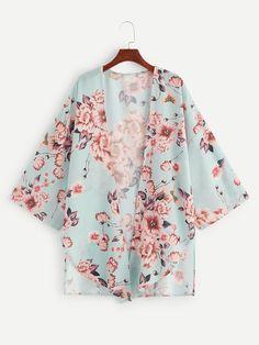 To find out about the Plus Floral Print Asymmetrical Hem Coat at SHEIN, part of our latest Plus Size Kimono ready to shop online today! Kimono Floral, Kimono Top, Curvy Fashion, Plus Size Fashion, Fashion Black, Hijab Fashion, Fashion News, Fashion Fashion, Vintage Fashion