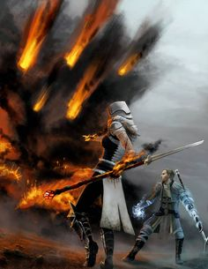 Anders and an unknown mage use their elemental magic. Dragon Age 2 ~Firestorm by ~lle-H on deviantART. (That is so Hawke)) High Fantasy, Fantasy Rpg, Fantasy Artwork, Fantasy Battle, Fantasy Fiction, Dnd Characters, Fantasy Characters, Fantasy Inspiration, Character Inspiration