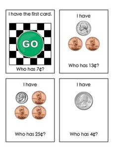 "Sample student cards from ""I Have-Who Has: Coins to 50 Cents""  $2.00"