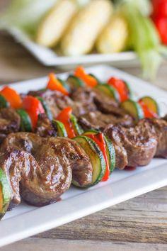 Grilled Flank Steak Kabobs