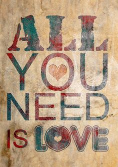Print All You Need Is Love Birthday Gift art van Artistico op Etsy