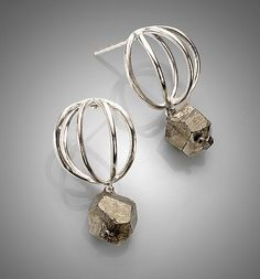Tiny Studs Silver Earrings by Ashley Vick ( Tiny cage studs in sterling silver, with your choice of accents - here, Pyrite 65$ - available with coral or Freshwater Pearls)