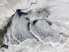 """On January 8, the Moderate Resolution Imaging Spectroradiometer (MODIS) on the Aqua satellite captured an image of """"clouds streets"""" over the Black Sea. Cloud streets are lines of cumulus clouds that run parallel to the wind. That is some beautiful wind."""