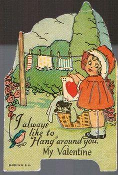 Vintage Valentine Card 1940s Little Girl Hanging Up Laundry