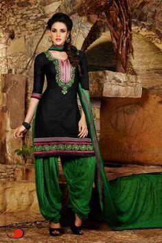 Black & Green Cotton Punjabi Suit