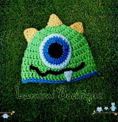 One-Eyed Monster Crochet Hat, Girls Crochet Hats, Kids Crochet Hats, baby hats, adult crochet hat