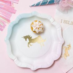 We Love Unicorns Plates for a pastel and gold themed unicorn party  sc 1 st  Pinterest & 10.75\u0027\u0027 Pink Embossed Paper Plate - Set of 16   Events and Party ...