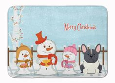 Merry Christmas Carolers French Bulldog Black White Machine Washable Memory Foam Mat BB2343RUG