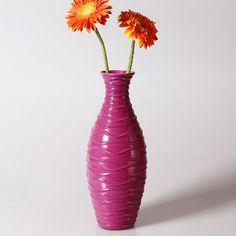 Adeco Decorative 13-inch Purple Horizontal Wave Wood Vase