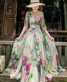 Trendy Short Sleeve Floral Printed Chiffon Maxi Dress - Hair and beauty - kleidung frauen sommer 2019 Short Beach Dresses, Trendy Dresses, Sexy Dresses, Beautiful Dresses, Casual Dresses, Fashion Dresses, Long Maxi Dresses, Formal Outfits, Dance Dresses