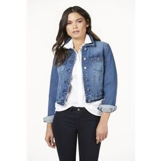 Justfab Apparel Classic Denim Jacket (51 CAD) via Polyvore featuring outerwear, jackets, apparel, apparel & accessories, blue, jean jacket, cotton jacket, justfab, cotton jean jacket and denim wrap jacket