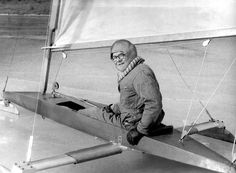 This Feb. 1, 1976, photo shows Dr. Joe Spearing and his ice sailing boat. The Harlan, Iowa, man was an accomplished sailor who, along with his crew, placed in many Midlands racing competitions. THE WORLD-HERALD
