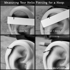 Buying a cartilage earring? Learn how to measure a helix piercing. Helix Ring, Helix Hoop, Helix Jewelry, Body Jewelry, Jewellery, Unique Earrings, Silver Hoop Earrings, Cute Ear Piercings, Fashion Styles