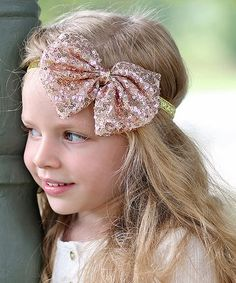 Love this Rose Gold Sequin Bow Elastic Headband on #zulily! #zulilyfinds