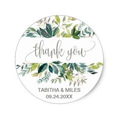 435d240ab Foliage Thank You Favor Classic Round Sticker Wedding Favor Labels