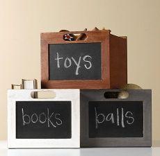 Chalkboard Shelf Storage Bins