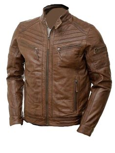 Brown moto style genuine leather jacket Echte Lederjacke im braunen Moto-Stil Brown Leather Bomber Jacket, Vintage Leather Jacket, Leather Men, Sheep Leather, Best Leather Jackets, Leather Jackets Online, Rugged Style, Best Mens Fashion, Mens Fashion Suits