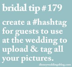 Bridal tip # 179 - create a for guests to use at the wedding to upload & tag all your pictures. Thanks Disney Weddings :) Wedding Day Tips, Wedding Planning Tips, Wedding Book, Plan Your Wedding, Wedding Planner, Dream Wedding, Wedding Ideas, 1920s Wedding, Wedding Stuff