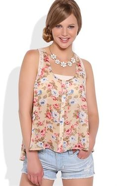 Deb Shops Floral High Low Tank Top with Lace Details and Button Front $14.25