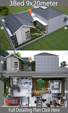 3 Bedrooms Home design plan – Home Ideas – House Design Dream House Plans, Modern House Plans, Small House Plans, Modern Home Interior Design, Modern House Design, Home Styles Exterior, House Construction Plan, Small Modern Home, Bungalow House Design