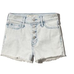 Abercrombie & Fitch High Rise Shorts ($17) ❤ liked on Polyvore featuring shorts, super light acid wash, high-waisted shorts, highwaist shorts, jean shorts, high-waisted acid wash shorts and short jean shorts