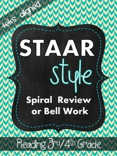 STAAR Style Spiral Review/Bell Work (TEKS Aligned) 3rd/4th Grade