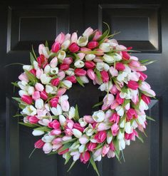 Spring Wreath- Tulip Spring Wreath- Summer Wreath- Custom Summer Door Wreath auf Etsy, 55,35 €