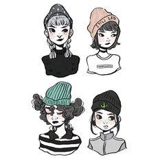 beanies ••• #illustration #procrastiartist #art #drawing #doodle #girls #fashion