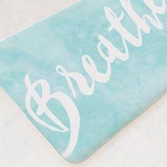 Bath Mat, Bathroom Mat, Breathe, Bathroom Rug, Blue Bathroom Decor, Custom  Bath Mat, Bathroom Accessories, Shower Mat, Kids Bathroom Art