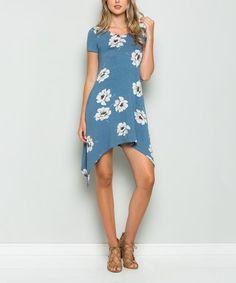 Love this Denim Floral Sidetail Dress on #zulily! #zulilyfinds
