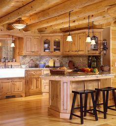 Marvellous Log Home Kitchens : Cabin Kitchens Â« Real Log Style Log Home Kitchens Gallery Log Home Kitchens   Pictures