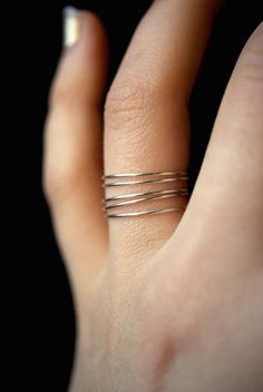 Smooth Sterling Silver Stack rings, silver stacking ring, Set of 5, skinny silver stackable ring, si