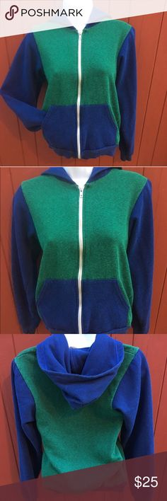 American Apparel zip up hoodie Blue and green zip up hoodie from American Apparel size small. Perfect condition! American Apparel Sweaters