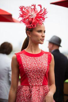 fuchsia fascinator and spring race dress.