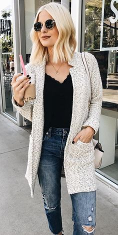 #fall #outfits  women's black v-neck blouse, gray and white open cardigan, distress blue denim pants round black sunglasses outfit