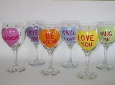 Hand Painted Valentine's Day Wine Glasses with by TheArtsyBohemian