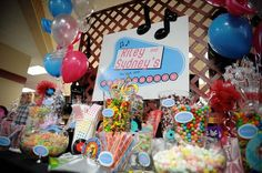 A 1950s Sock Hop themed candy display at a Bnot Mitzvah {Photo by A Magic Moment}