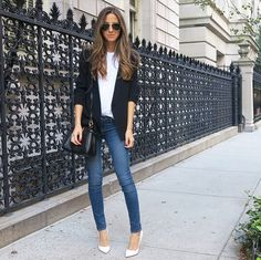 Love the jeans, plain top and a warm layer.