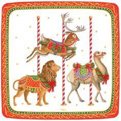 Caspari Merry-Go-Round Carousel Animals Theme Printed Square Paper Dessert Plates Wholesale 13340SP