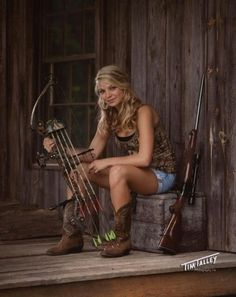 Country girl senior picture, gun, bow, camo, hunting , model, follow me, outdoors