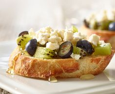 I made Kiwi, Blueberry and Feta Bruschetta. It could also be a healthy dessert option as well. Healthy Dessert Options, Easy Desserts, Appetizer Dips, Appetizer Recipes, Dinner Recipes, Cooking Cheese, Cheese Salad, Create A Recipe, Honey