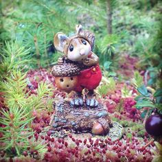 """So cute amongst the moss! #weeforestfolk #squirrel #mouse #cute #acorn #miniatures #madeinamerica"""
