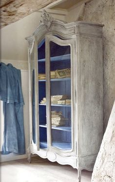 Greek Blue inside a French Armoire painted with French Linen and Paris Grey wash over wet wax.
