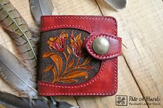 leather wallet/ tooling leather/ handmade/flower/modern/red wallet/ by PairOfHandsLeather on Etsy
