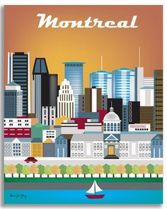 Montreal, Canada Skyline - 11 x 14 Retro Travel Original Art - Wall Art for Home, Office, Nursery - style sold by Loose Petals. Shop more products from Loose Petals on Storenvy, the home of independent small businesses all over the world. Voyage Canada, Skyline Art, Of Montreal, Cities, Jolie Photo, Vintage Travel Posters, Canada Travel, Illustrations, Art Images