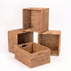 eHemco Rectangular Hand-Woven Foldable Water Hyacinth Storage Baskets with Iron Wire Frame- Set of Fabric Storage Bins, Fabric Bins, Wicker Storage Baskets, Shoe Storage, Inverness, Rectangular Baskets, Square Baskets, Do It Yourself Organization, Rattan Basket