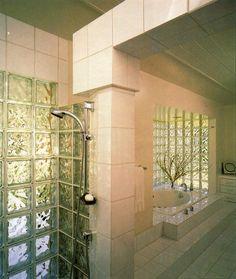 living in the past : Photo Vintage Bathrooms, Dream Bathrooms, Vaporwave, 80s Interior Design, Glass Blocks Wall, Art Nouveau, Luxe Decor, Bohemian Decor, Vintage Interiors