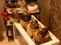 Miniature Yule Log Roulade Holiday Cake with by JansPetitPantry